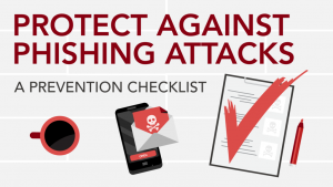 Checklist with words protect against phishing attacks